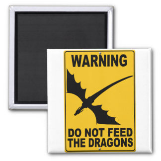 Do Not Feed the Dragons Square Magnet