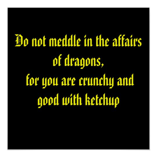 Do not meddle in the affairs of dragons,
