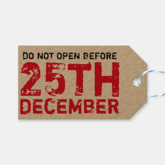 Do not open before 25th december gift tags