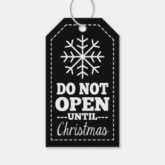 Do Not Open Until Christmas Snowflake black white Gift Tags