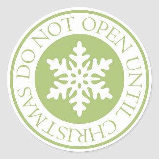 Do Not Open Until Christmas Snowflake Lime Green Classic Round Sticker