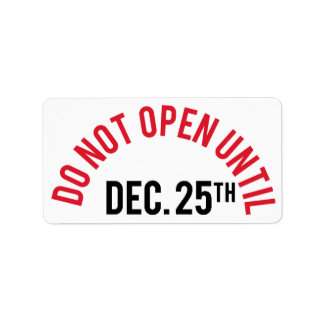 Do Not Open Until Dec. 25th Name Sticker