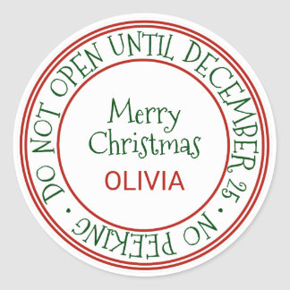 Do Not Open Until December 25 Christmas Gift Classic Round Sticker