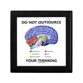 Do Not Outsource Your Thinking (Brain Anatomy) Small Square Gift Box