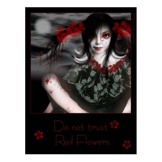 Do not trust Red Flowers Postcard