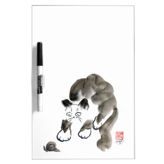 Do Snails Sting? Sumi-e kitten and snail Dry Erase Board