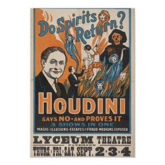 "Do Spirits Return? Houdini Says No And Proves It 3.5"" X 5"" Invitation Card"