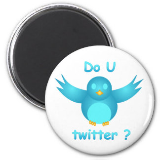 DO U TWITTER? I DO  by SHARON SHARPE 6 Cm Round Magnet