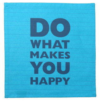 Do What Makes You Happy Blue Notebook Paper Cloth Napkin