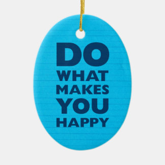 Do What Makes You Happy Blue Notebook Paper Christmas Ornaments
