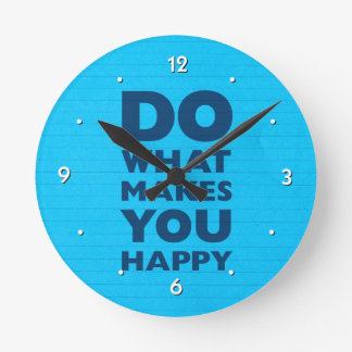 Do What Makes You Happy Blue Notebook Paper Wallclock