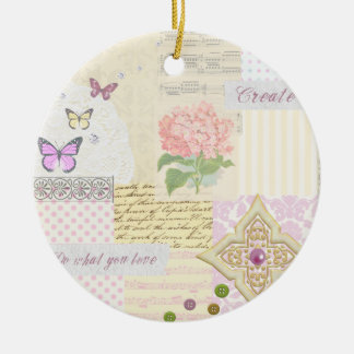 Do what you love - Girly Pink & Cream collage Christmas Ornament