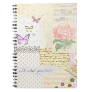 Do what you love - Girly Pink & Cream collage Notebook