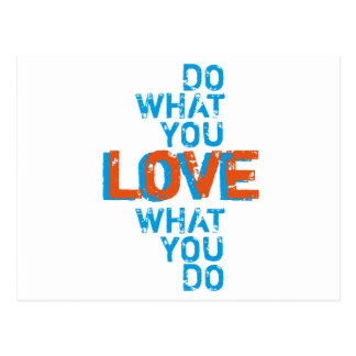 do what you love, inspirational word art print postcard