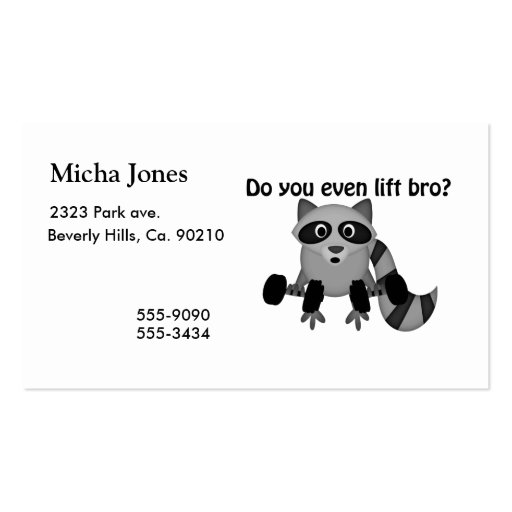 Do You Even Lift Bro Raccoon Business Card