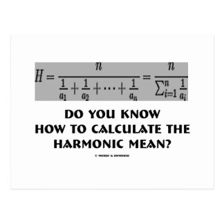 Do You Know How To Calculate The Harmonic Mean Postcard