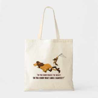 """Do You Know What Lions I Hunted?"" Canvas Bags"
