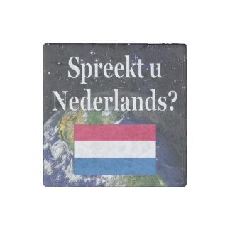 Do you speak Dutch? in Dutch. Flag & space Stone Magnet
