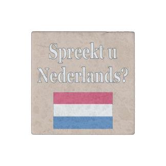 Do you speak Dutch? in Dutch. Flag Stone Magnet