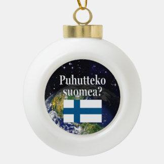 Do you speak Finnish? in Finnish. Flag & Earth Ceramic Ball Christmas Ornament