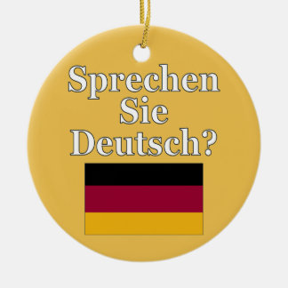 Do you speak German? in German. Flag Christmas Ornament