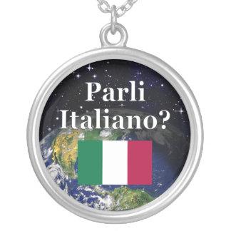 Do you speak Italian? in Italian. Flag & Earth Personalized Necklace