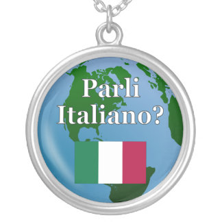 Do you speak Italian? in Italian. Flag & globe Round Pendant Necklace
