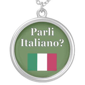 Do you speak Italian? in Italian. Flag Necklace