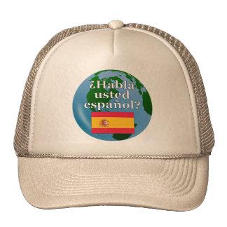 Do you speak Spanish? in Spanish. Flag & globe Cap