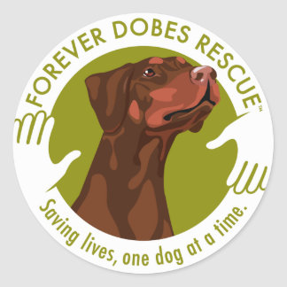 dobe-red-uncropped-ear-logo-8-29-11 classic round sticker