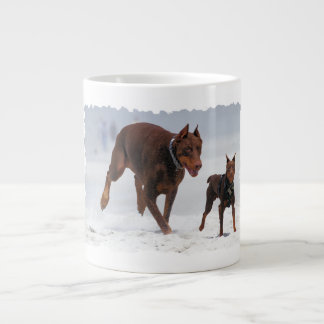 Doberman and Min Pin - LOOK! A Mini Me! Jumbo Mug