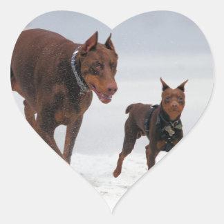 Doberman and Min Pin - LOOK! A Mini Me! Heart Sticker