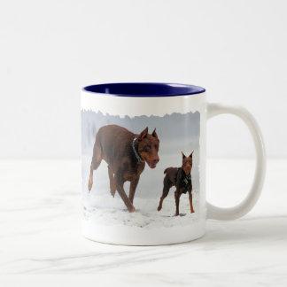 Doberman and Min Pin - LOOK! A Mini Me! Two-Tone Coffee Mug
