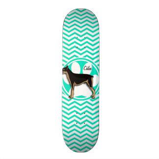 Doberman; Aqua Green Chevron Custom Skateboard