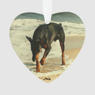 Doberman at the Beach Painting Image