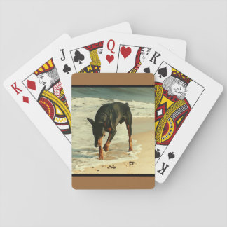 Doberman at the Beach Painting Image Playing Cards