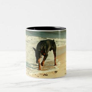Doberman at the Beach Painting Image Two-Tone Coffee Mug