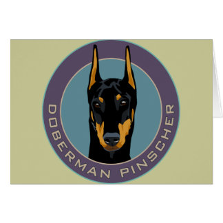 Doberman Badge, Black with green Greeting Card