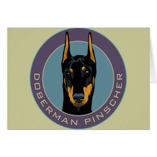 Doberman Badge, Black with green Greeting Card