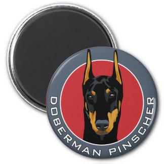 Doberman Badge, Black with Red 6 Cm Round Magnet