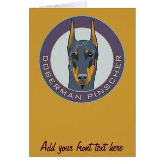 Doberman Badge, Blue Greeting Card