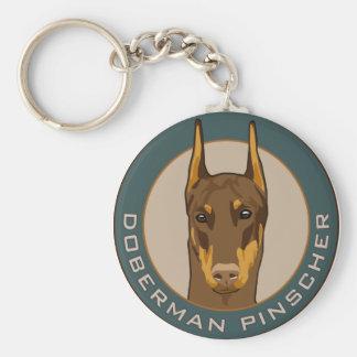 Doberman Badge, Red Key Ring