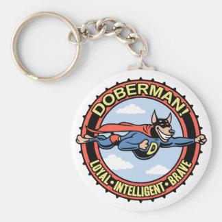 Doberman! Basic Round Button Key Ring