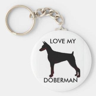 doberman black, LOVE MY, DOBERMAN Key Ring