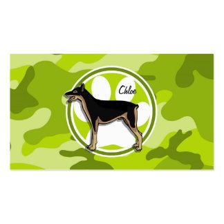 Doberman bright green camo camouflage business card template