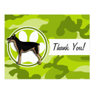 Doberman; bright green camo, camouflage postcards
