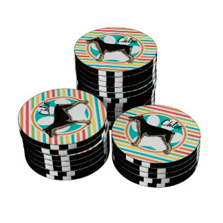 Doberman; Bright Rainbow Stripes Poker Chip Set