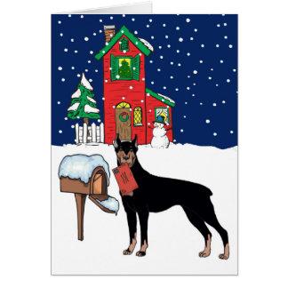 Doberman Christmas Card