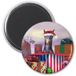 Doberman Christmas Surprise 6 Cm Round Magnet
