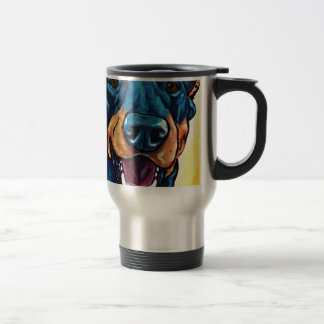 Doberman crop stainless steel travel mug